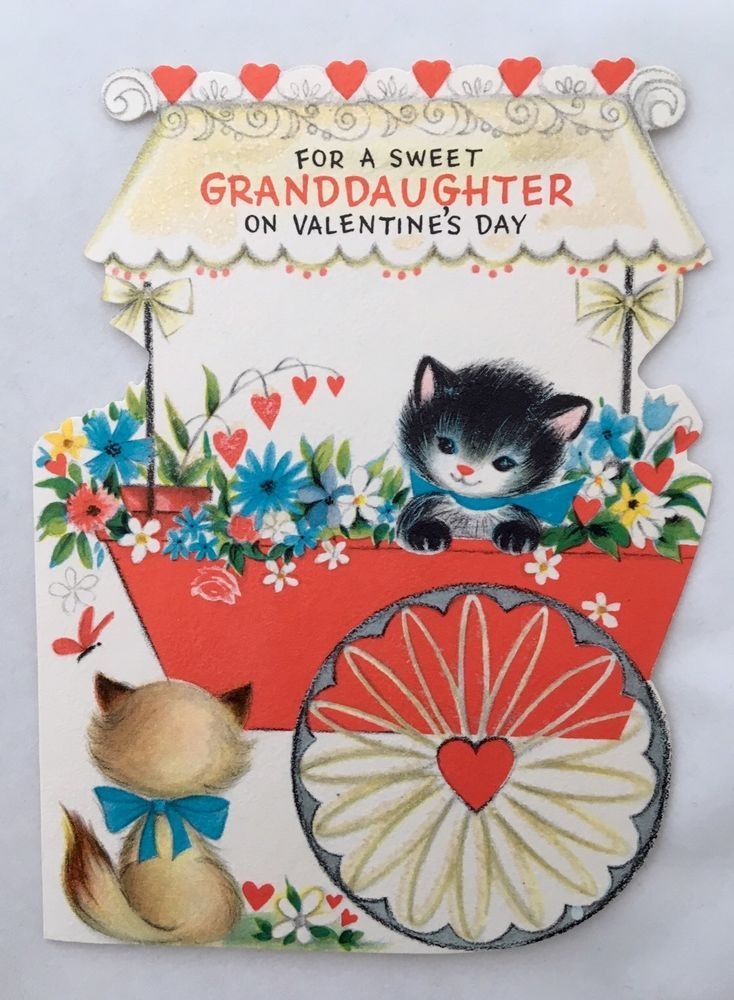 Vintage Die Cut HALLMARK Card Cute Kitty Cats Glitter Flower Cart Butterfly   Collectibles, Paper, Vintage Greeting Cards   eBay!
