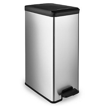 Rotho Slimline Kitchen Waste Pedal Bin - Metallic Effect 40L - from Lakeland