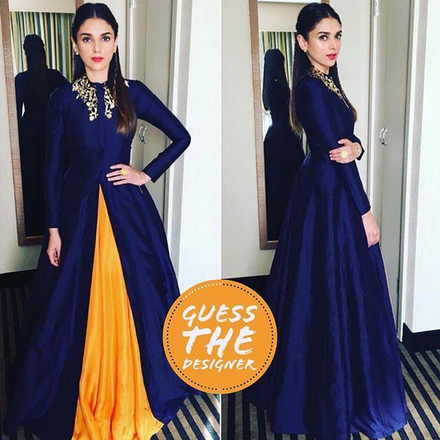 Can you guess whose beautiful creation is @aditiraohydari wearing?   1. Manish Malhotra 2. Nikhil Thampi  3. Neeta Lulla