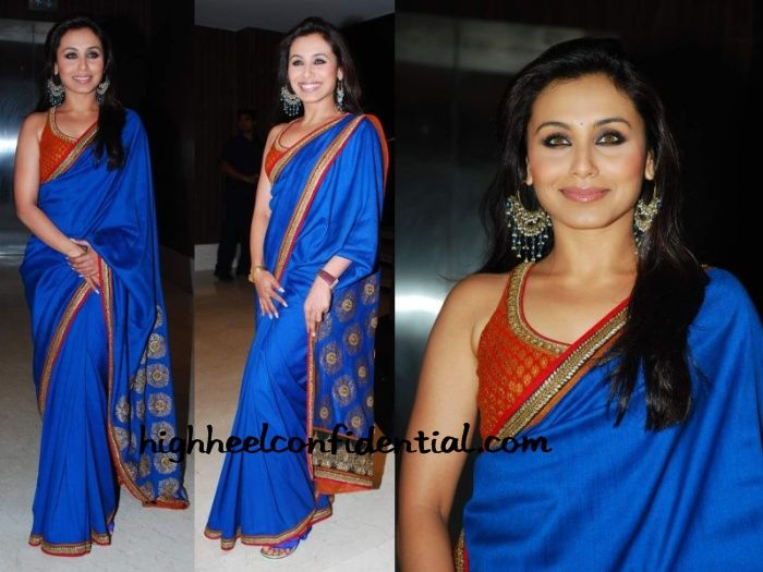 Rani Mukerji in blue saree with red blouse.. wow!