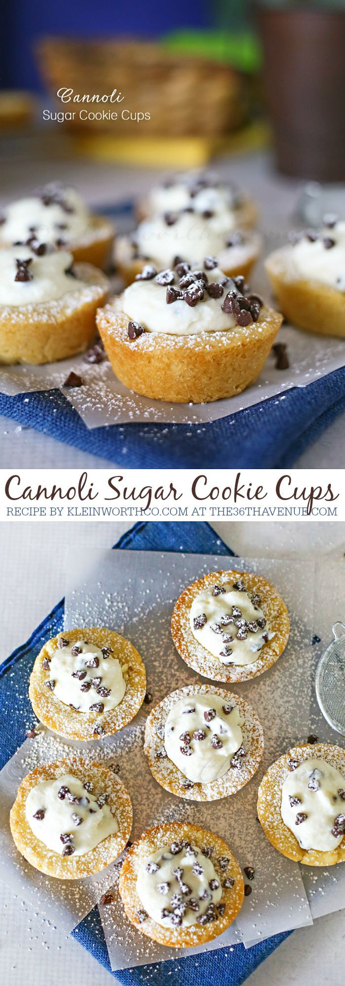 Cannoli Sugar Cookie Cups at the36thavenue.com #dessert #recipes #easy #sweet #recipe