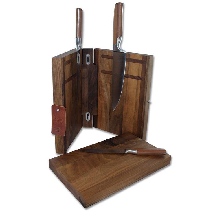 SARAH WIENER Messerblock - Wunderschöner Magnet-Messerblock aus Walnußholz mit integriertem Schneidebrett. Der Block ist aufklappbar und hat auf beiden Innenseiten jeweils integrierte Magnete, an denen die Messer sicher halten. Das Schneidbrett ist mit einer Verankerung befestigt und läßt sich leicht durch Schieben nach oben entnehmen.