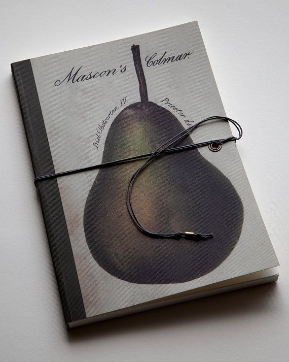 Pear. Green. Handmade bind fold notebook, journal, Diary, Historical illustration, Fruit motive, special design wrapp, sewn with red thread