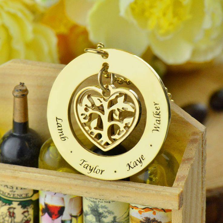 Сердце Family Tree Имя Ожерелье Золотой Гравировкой Дети Имя Ожерелье Матери Всегда Буду Любить Ее Семья Сердце Ювелирных Изделий