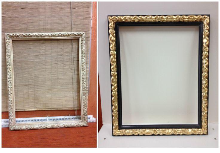 #Reciclaje de #marco mediante técnicas de #dorado y #pintura decorativa