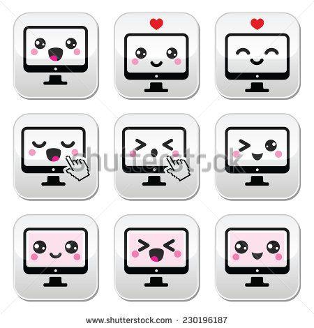 Japanese cute Kawaii character - computer buttons set by RedKoala