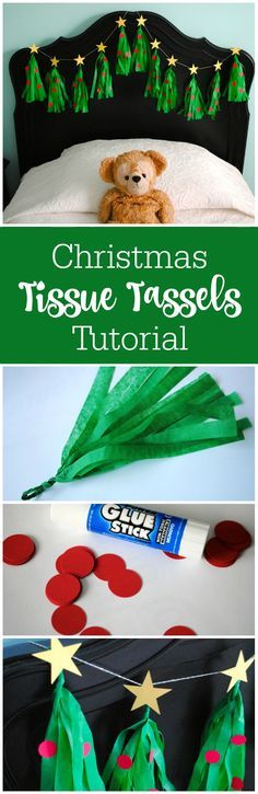 This is one of those projects that looks like it has a lot of steps, but I promise: try this once, and you'll speed through the rest.   http://thepartyteacher.com/2015/11/30/tutorial-christmas-tree-tissue-tassel-garland/