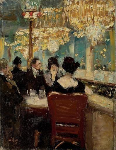 Lesser Ury (German, 1861-1931), Galerie im Café Vaterland am Potsdamer Platz, Berlin, 1920s. Oil on canvas, 32.6 x 24.4cm.