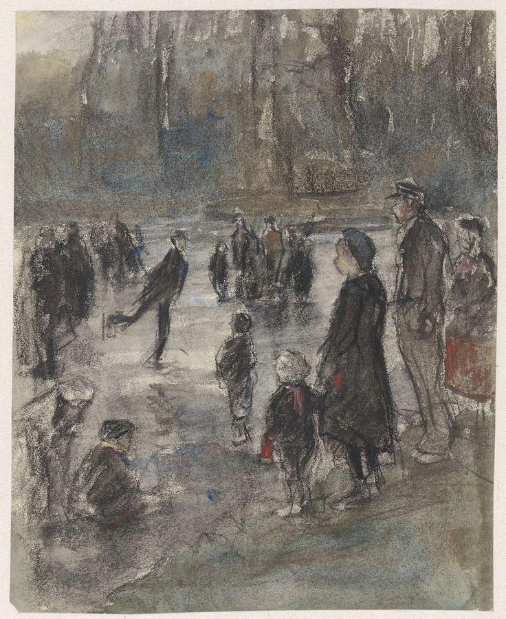 IJspret op de bevroren vijver in het Haagse Bos, Johan Antonie de Jonge, 1874 - 1927