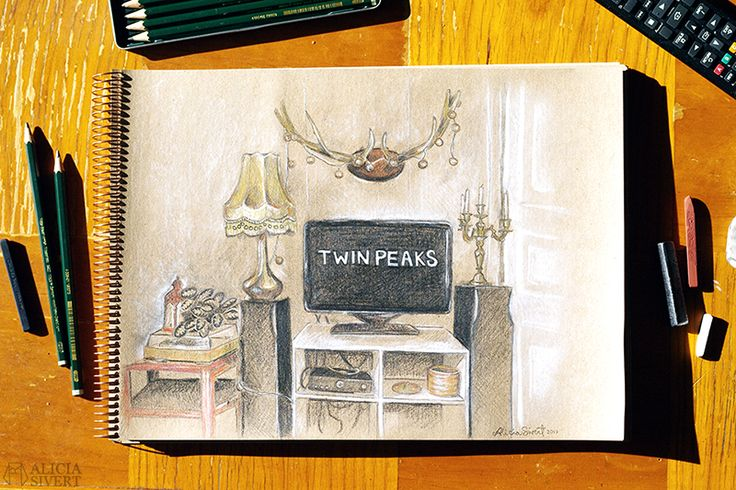 Twin Peaks living room illustration by Alicia Sivertsson.