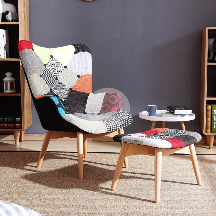 Replica Grant Featherston Chair & Ottoman - R160 Contour Patchwork