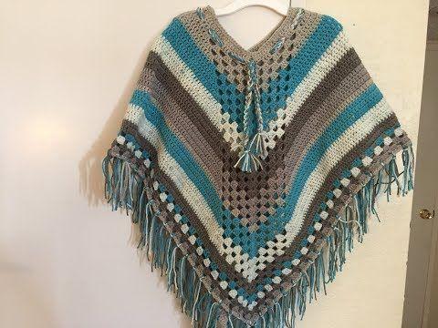 Como Tejer un Poncho a Crochet Parte # 1 - YouTube