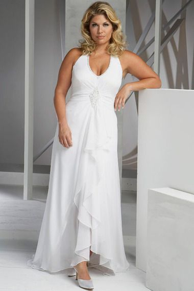 Modest Plus Size Wedding Dresses Halter Ankle length Floor length Chiffon affordable on sale, discount bridal gowns shop for wedding at 2013 to 2012 vogue style.