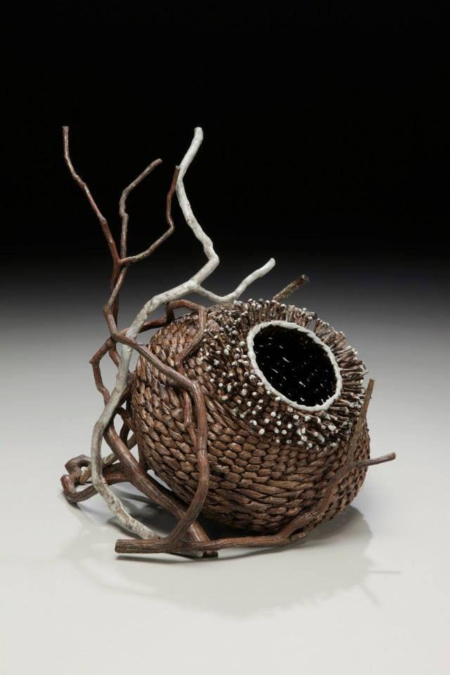 www.matttommey.com  Sculptural Art Basket by Matt Tommey made from kudzu, poplar bark, laurel branches and encaustic wax.