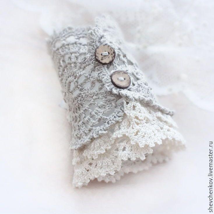 Купить Браслет-манжета из льна в стиле бохо. Серый и бежевый. - браслет, бохо