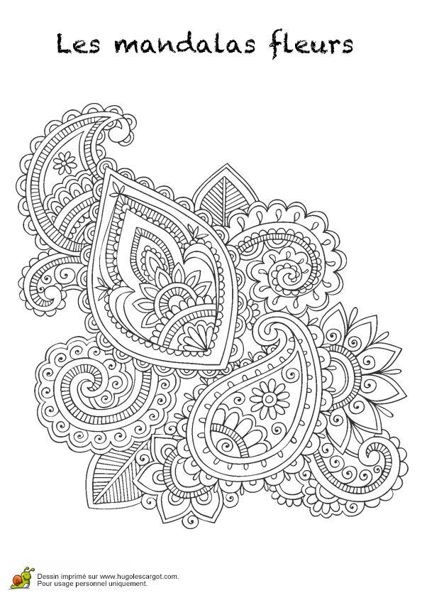coloriage les mandalas fleurs sur hugo 23 sur