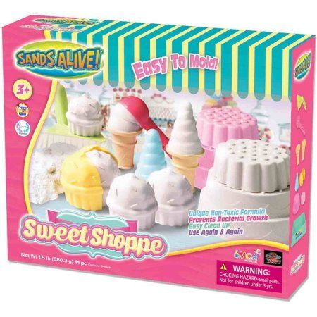 Sands Alive! Sweet Shoppe Non-Toxic 1.5 lb White Sand 11-Piece Set by Play Visions, Multicolor