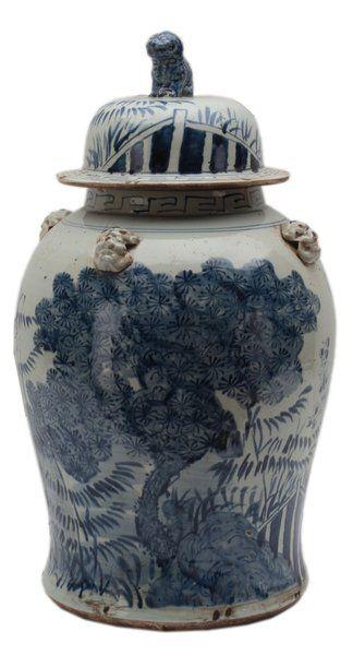 """Asian Ceramic Vessel #Large 22"""" Height Blue & White #Landscape Urn #Vase"""