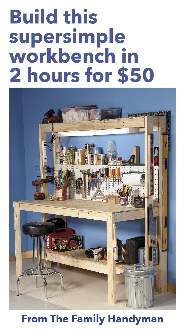 Perfect How To Build A DIY Wood Workbench: Super Simple $50 Bench Great Pictures