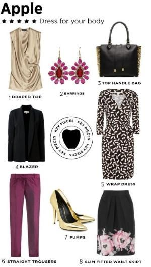 Apple body type, Dress for your body shape No matter what your body shape is, you can make the most of your gorgeous figure. Key pieces for an apple body shape. Fashion looks by marguerite