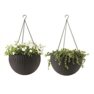 Keter Brown 13.8 in. Dia. Round Rattan Wicker Plastic Resin Garden Plant Hanging Planters (Set of 2) | Overstock.com Shopping - The Best Deals on Planters, Hangers & Stands