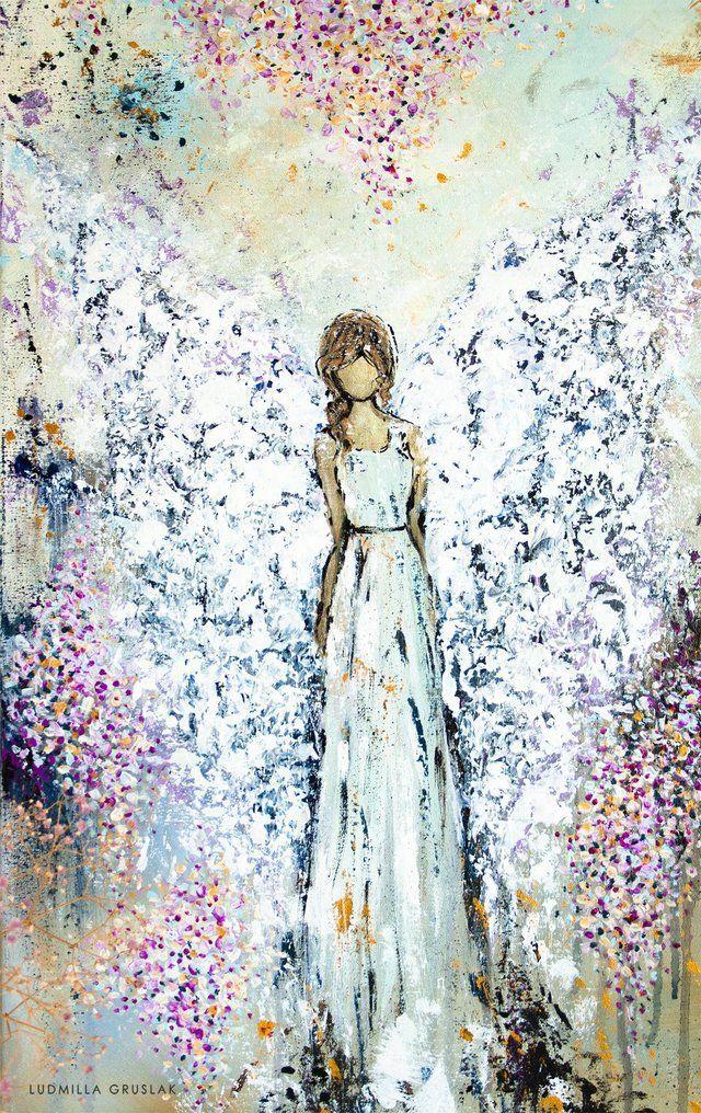 Fragile Grace Angel Painting By Ludmilla Gruslak Guardian Angel Love Hope Comfort Engelbild Engel Angel Painting Angel Art Angel Wall Art