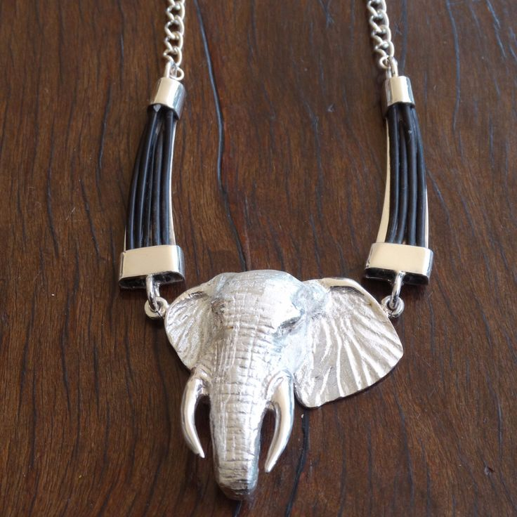 Large 3D Elephant Head with Elephant Hair Tusk Choker and Chain.  In Sterling Silver or Gold. GoodiesHub.com|