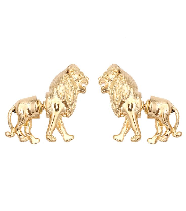 Gold Lion 2 Part Earrings Leo Lion 2 Stud Earrings Lion of ...