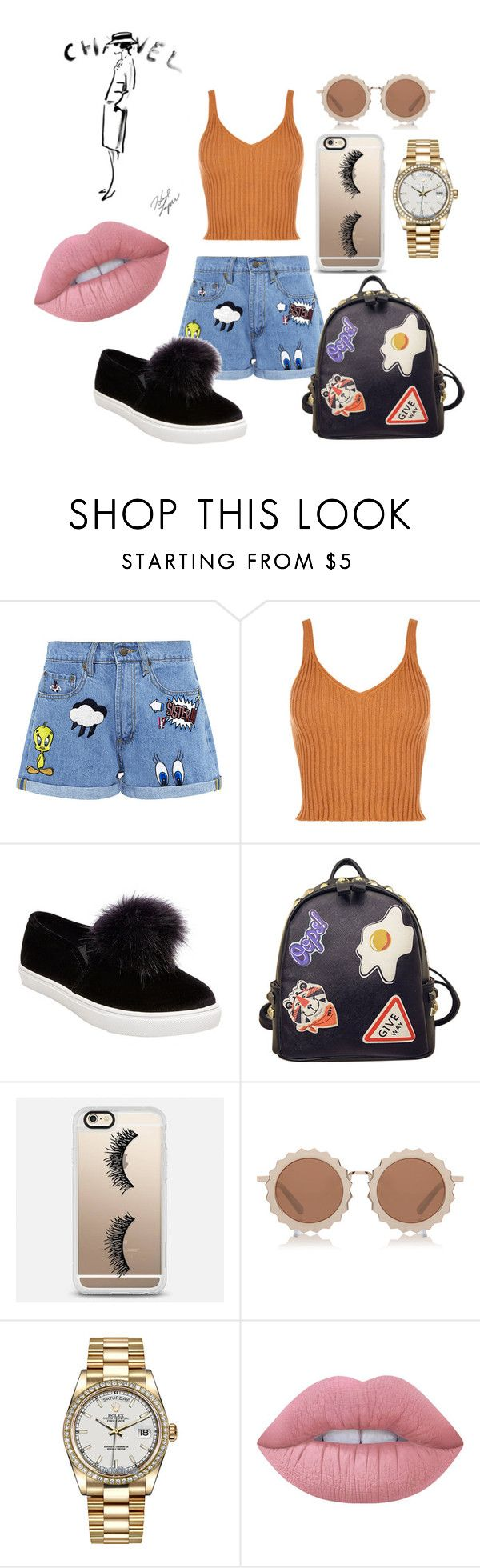 """Danny"" by aaliyah-parker ❤ liked on Polyvore featuring Paul & Joe Sister, Betsey Johnson, WithChic, Casetify, House of Holland, Rolex, Chanel and Lime Crime"