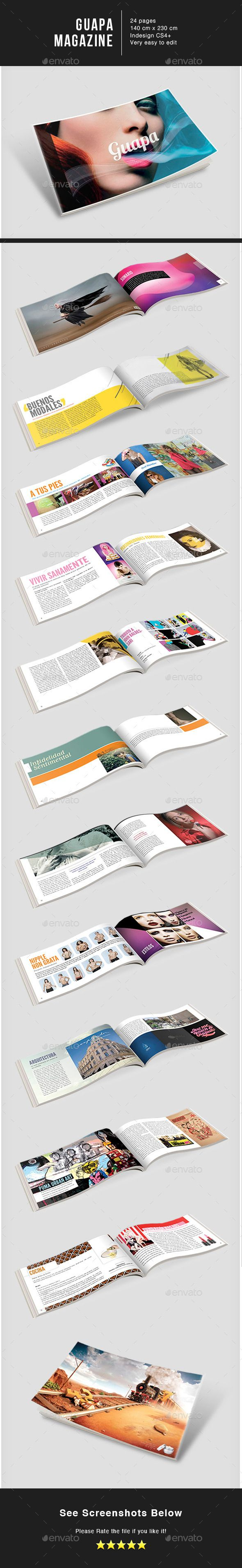 Guapa MGZ - #Magazines Print #Templates Download here: https://graphicriver.net/item/guapa-mgz/9170503?ref=alena994