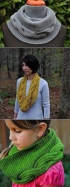 Вязаный спицами шарф-снуд Millwater - «Мельница».