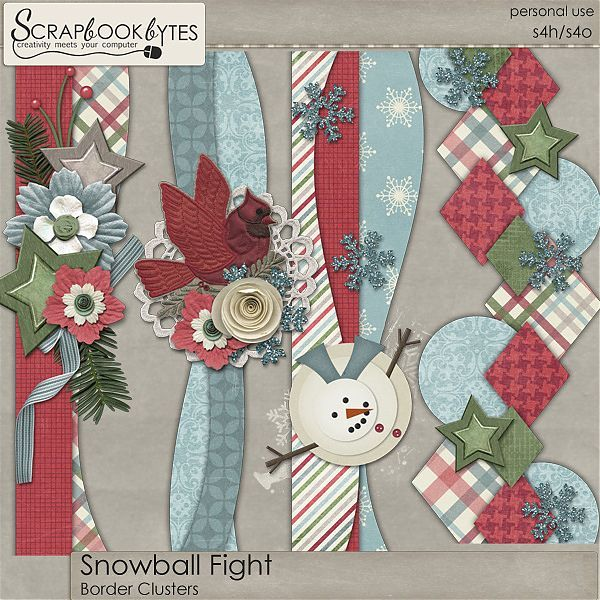 Snowball Fight - Border Clusters :: Kit Element Bits :: Kits & Bits :: SCRAPBOOK-BYTES