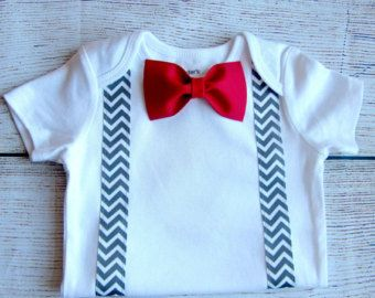 Baby Boy Clothes  Baby Tuxedo Bodysuit  Red Bow Tie Grey by SewLovedBaby | Etsy