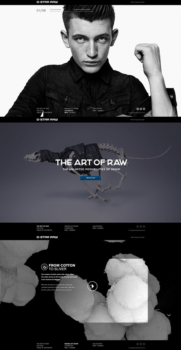 The #Art of Raw is the latest #campaign from G-Star RAW for Spring Summer 2013. It #showcases a series of explorations into the Unlimited Possibilities of Denim.   www.theartofraw.g-star.com