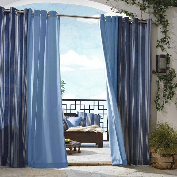 Outdoor Decor Gazebo Solid Outdoor Curtains with Grommets. These outdoor heavy weight curtains are available in both solid and stripes. Exceptionally easy to use with eight (8) silver grommets fitted near each curtain's upper edge, for slipping over a stationary curtain rod.