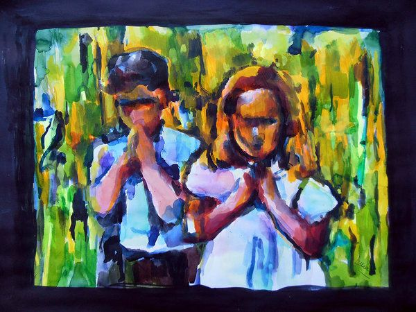 Forrest Gump Print featuring the painting Pray With Me Forrest by Lucia Hoogervorst