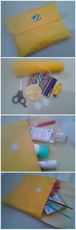 Yellow pouch. You can put everything there. Just a simple step to make it perfect. DIY.