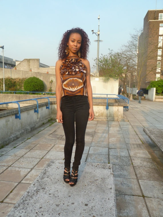 African Inspired Brown ruffle top by KESboutique on Etsy, £20.00