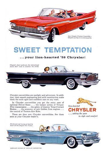 Chrysler 1959 Sweet Temptation Lion-Hearted - www.MadMenArt.com | Vintage Cars…