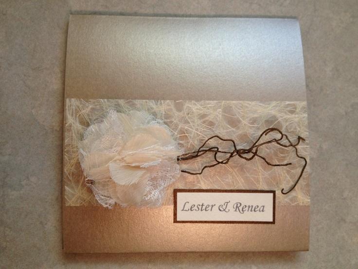 Bespoke wedding invitation. Flower. Textures. Handmade. Mink.