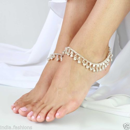 SILVER-tone-jingle-bell-chain-ANKLET-PAIR-PAYAL-feet-bracelet-gypsy-tribal