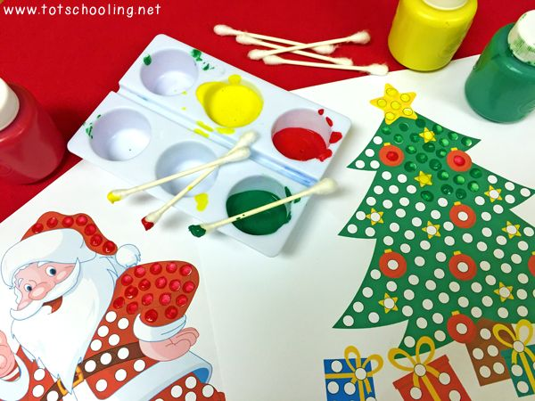 Christmas Q-Tip Painting Printables | Totschooling - Toddler and Preschool Educational Printable Activities