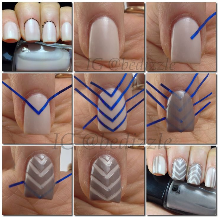Step by step to @ bedizzle's #edgy #mani in Sugar Rose and Pearl Grey #LancomeLovesNails