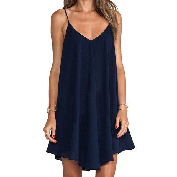 $3.98 Stylish Spaghetti Strap Asymmetrical Women's Flare Dress