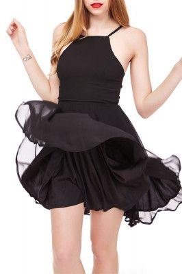 Frisky Back Lace Up Short Black Prom Dresses Skater
