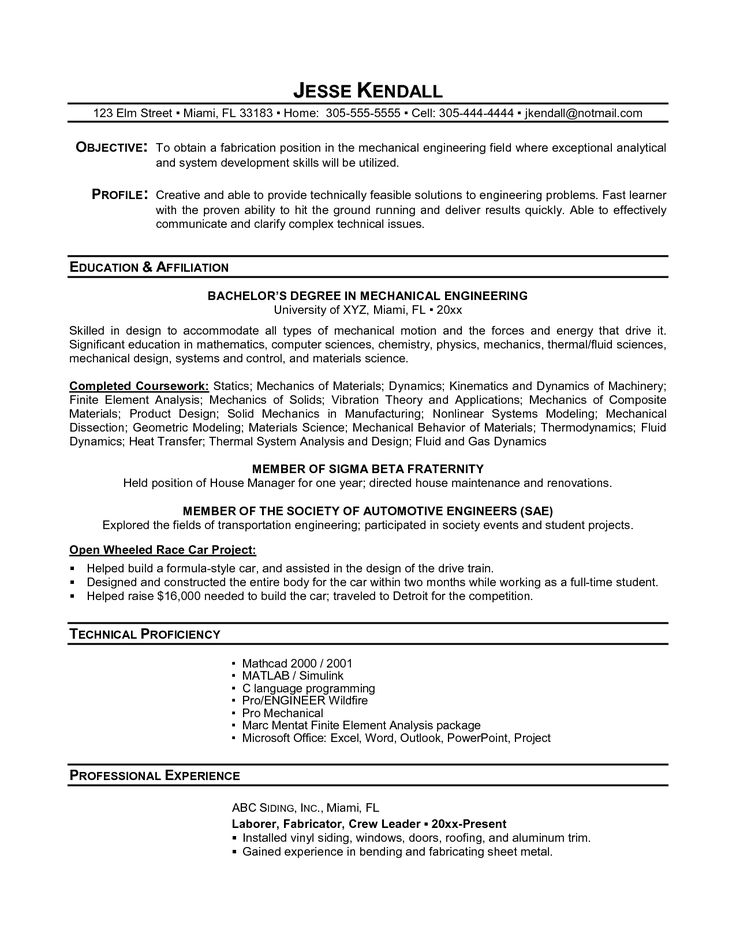 32 best Resume Example images on Pinterest Career choices - mechanical engineering resume template