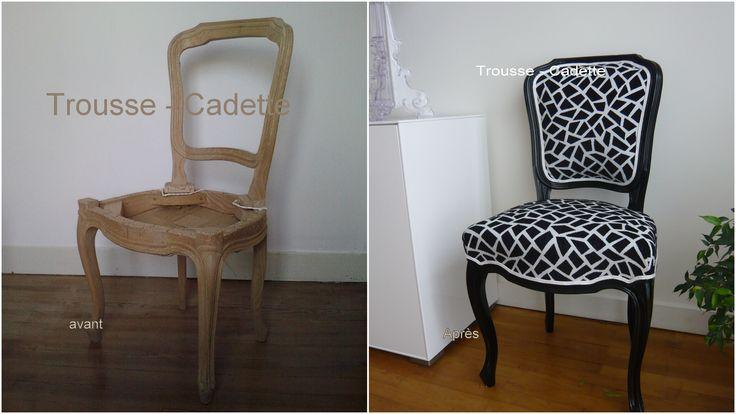 Peinture noire laqu e tissu froca double galon blanc pour for Tissu pour recouvrir chaise