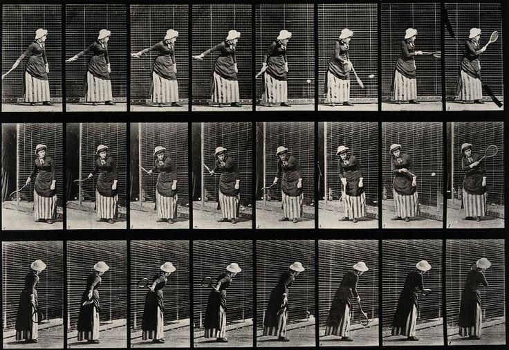 A woman hitting a tennis ball after Eadweard Muybridge, 1887. Wellcome Library, CC BY