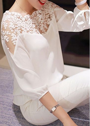 White Lace Splicing Elastic Waist Chiffon Blouse                              …