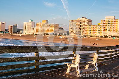 virginia beach boardwalk  and pier | Virginia Beach boardwalk hotels as seen from the oceanfront fishing ...